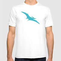 Pterodactyl Dinosaur Turquoise Blue Mens Fitted Tee White SMALL