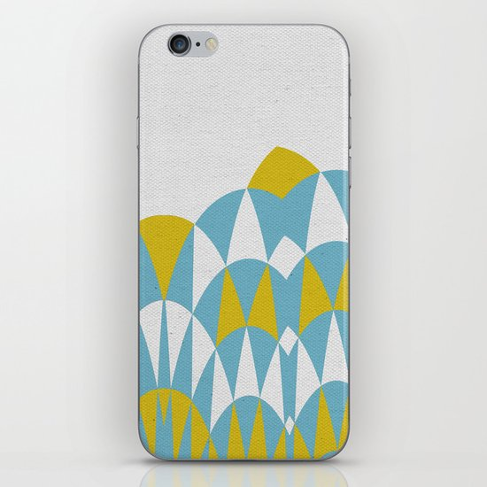 Modern Day Arches Blue and Yellow iPhone & iPod Skin