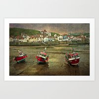 Three Red Boats at Staithes Art Print