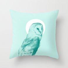 Wise Blue Owl Throw Pillow