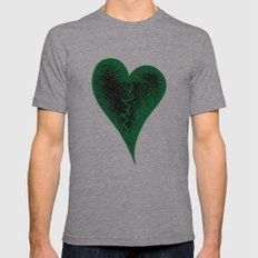 Green Heart Mens Fitted Tee Athletic Grey SMALL
