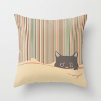 Kitty In The Blanket Throw Pillow