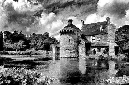 Black and White Scotney Castle Art Print