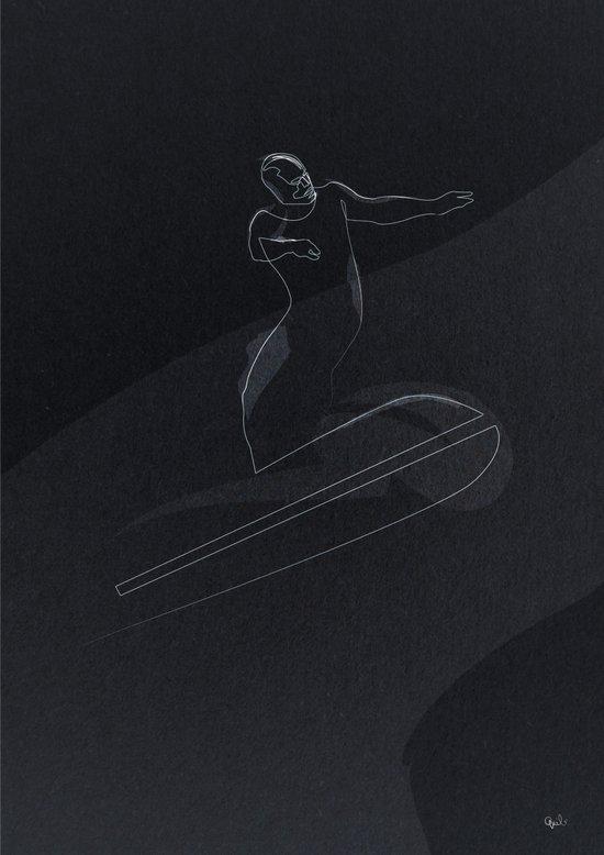 one line Silver Surfer Art Print