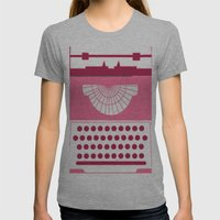 Typewriter Womens Fitted Tee Athletic Grey SMALL