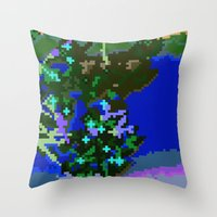 Sakura pixel Throw Pillow