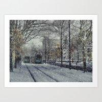Never ending winter. Brookline, MA Art Print