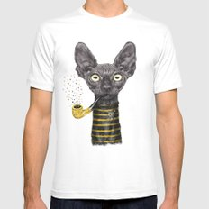 Black Cat SMALL Mens Fitted Tee White