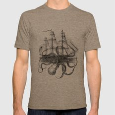 Octopus Kraken attacking Ship Antique Almanac Paper Mens Fitted Tee Tri-Coffee SMALL