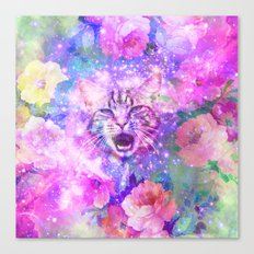 Space Cat | Girly Kitten Cat Romantic Floral Pink Nebula Space Canvas Print