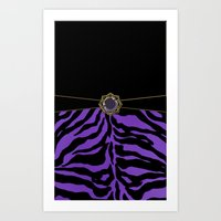 Purple Zebra Background Art Print