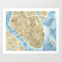 Charleston, South Carolina City Map Art Print Art Print