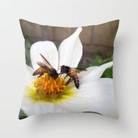 Bees At Work Throw Pillow
