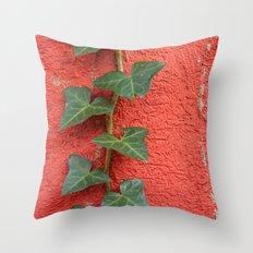 Orange Wall - Green Ivy Throw Pillow