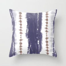Brown and Blue Tie-Dye Throw Pillow