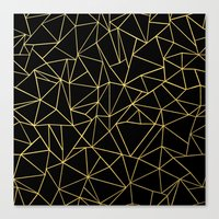 Abstraction Outline Gold on Black Canvas Print