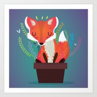 Fox In The Pot Art Print