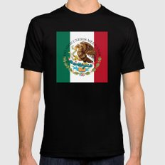 Flag of Mexico (augmented scale) with Coat of Arms (overlaid) SMALL Mens Fitted Tee Black