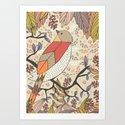 Singing Red Bird Art Print