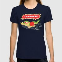 Caimanman Womens Fitted Tee Navy SMALL
