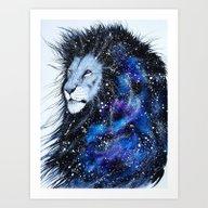Galaxy Lion Art Print