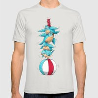 Blue Birds Balancing Boiling Beverages on a Beach Ball Mens Fitted Tee Silver SMALL
