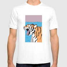 Tiger Yawn White Mens Fitted Tee SMALL