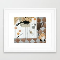 Breakfast and Fox Framed Art Print