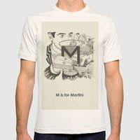 M is for Martini Mens Fitted Tee Natural SMALL