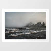 Foggy Maine Beach Art Print