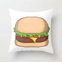 Cheeseburger Pixel Throw Pillow
