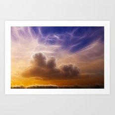 Fractal skies sunset Art Print