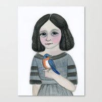 Edwina and her Bluebird, Victorian Portrait Canvas Print