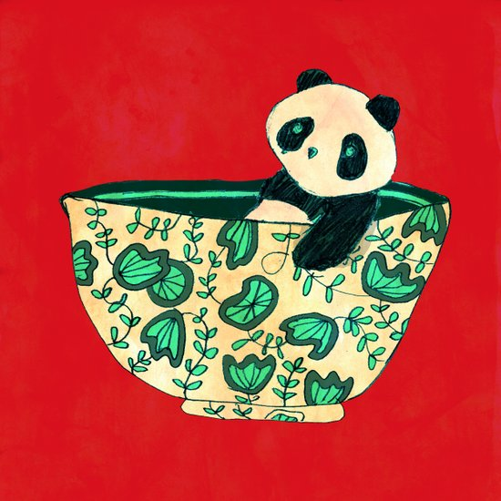 Dinnerware sets - panda in a bowl Art Print