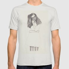 No.4 Fashion Illustration Series Mens Fitted Tee Silver SMALL