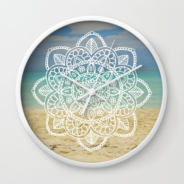 beach mandala wall clock cuba white henna