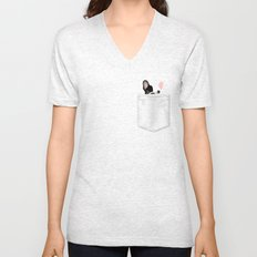 Pocket French Bulldog - Pied Unisex V-Neck
