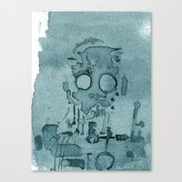 Robot In Blue Canvas Print