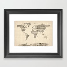 Old Sheet Music World Ma… Framed Art Print