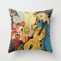 Distarcted Busker Throw Pillow