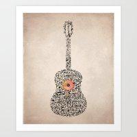 Guitar Notes Art Print