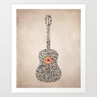 Guitar Notes Art Print