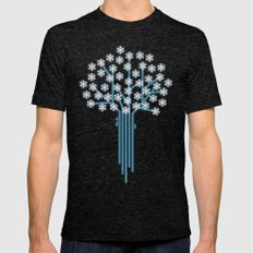 Winter tree Mens Fitted Tee Tri-Black SMALL