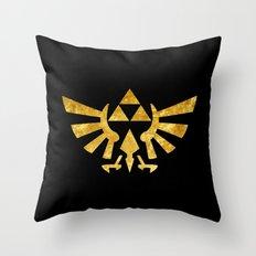 Zelda Golden Hylian Crest Throw Pillow