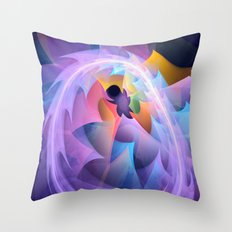 Cyclone of feelings, colourful fractal abstract Throw Pillow
