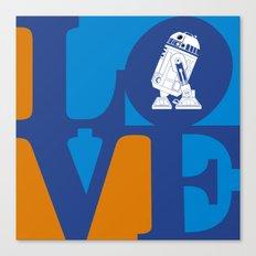 Robot LOVE - Blue Canvas Print