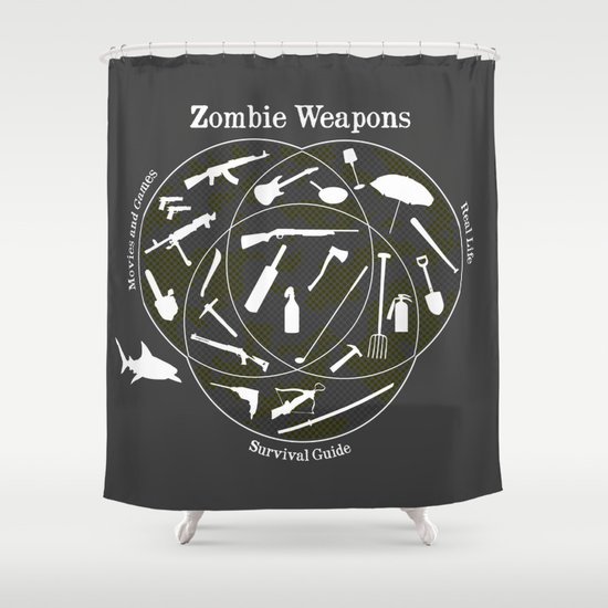 Zombie Weapons Shower Curtain By Emma Harckham