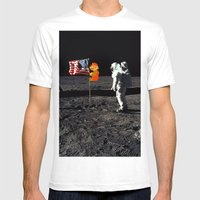 Super Mario On The Moon Mens Fitted Tee White SMALL