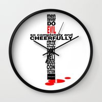 Pascal Quote: Men Never Do Evil... Wall Clock