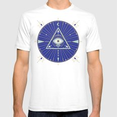 Evil Eye Mandala – Navy Mens Fitted Tee White SMALL
